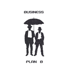 Silhouettes of retro businessmen with umbrella vector