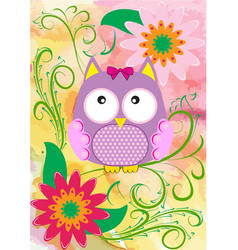 with owl and flowers vector image