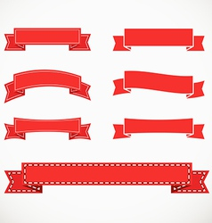 Different retro style red ribbons vector