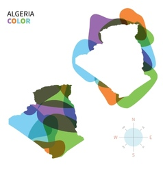 Abstract color map of algeria vector