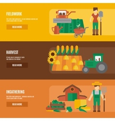 Farmer land flat banners set vector