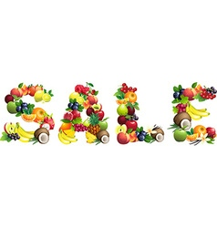 Word SALE composed of different fruits with leaves vector image