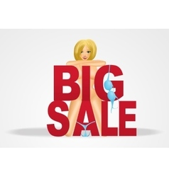 Smiling nude woman with big sale text vector