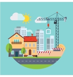 Flat design building construction and urban vector