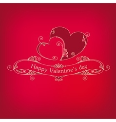 Happy valentines day vintage red card vector image