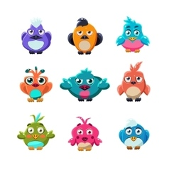 Colourful cute birds set vector