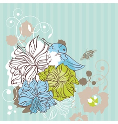 Abstract cute floral decorative card vector