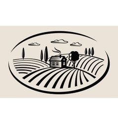 Farm and field vector