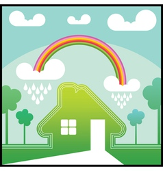 Green house with rainbow vector