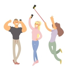 People making selfie set vector