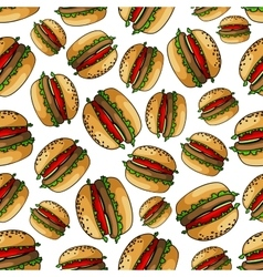 Seamless american bbq burgers background pattern vector