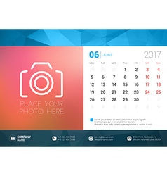 Desk calendar template for 2017 year june design vector