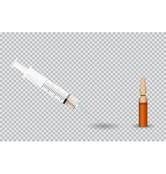 Syringe with transparent ampoule with substance on vector