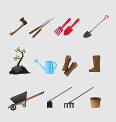 agricultural tools set vector image