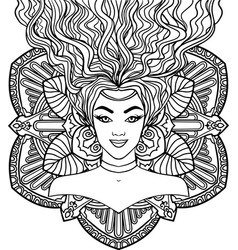 beautiful woman on a mandala background vector image