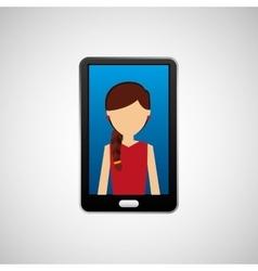 Black smartphone and avatar girl vector
