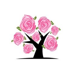 Blooming tree with pink roses for your design vector image vector image