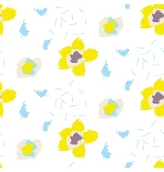 Brush stroke yellow bold florals seamless pattern vector image vector image