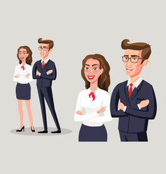 Business people group team standing folded hand vector