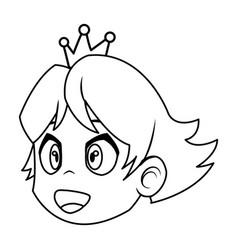 cartoon face princess crown character beauty vector image vector image