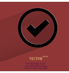 check mark Flat modern web button with long shadow vector image