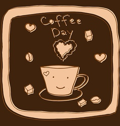 coffee day hand drawn vector image vector image