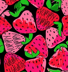 Colorful Sketch Seamless Pattern Of Strawberries vector image