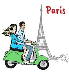 couple driving scooter in paris vector image vector image