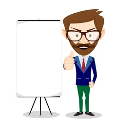 Friendly businessman leaning against blank vector