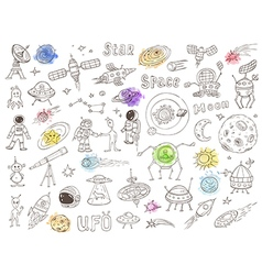 Hand drawn space doodles vector image