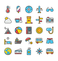 hotel and travel colored icons set 3 vector image