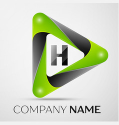 letter h logo symbol in the colorful triangle on vector image vector image