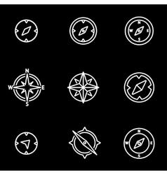 Line compass icon set vector