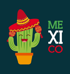 mexico cactus happy cartoon with hat maracas vector image