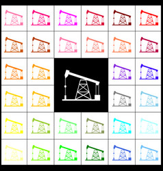 Oil drilling rig sign felt-pen 33 vector