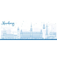 Outline Hamburg Skyline with Blue Buildings vector image vector image