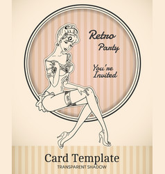 Pin-up card template vector