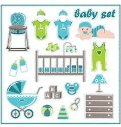 Scrapbook elements with baby boy things vector image vector image