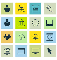 Set of 16 internet icons includes website page vector
