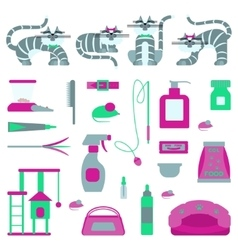 Set of sign cat accessories vector