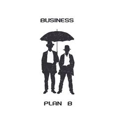 Silhouettes of retro businessmen with umbrella vector image