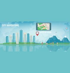 Smart city navigation big city and suburb tablet vector