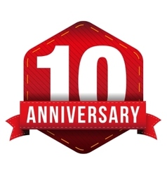 Ten year anniversary badge with red ribbon vector