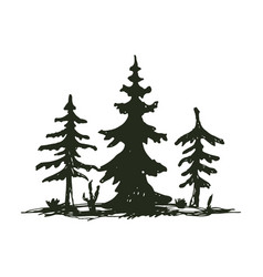 tree outdoor travel black silhouette coniferous vector image vector image