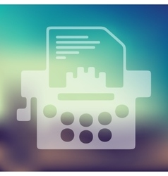 Typewriter icon on blurred background vector