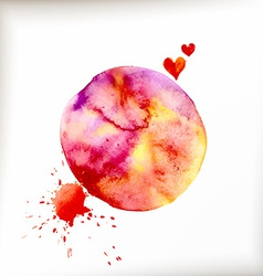 Watercolor colorful blot and heart vector
