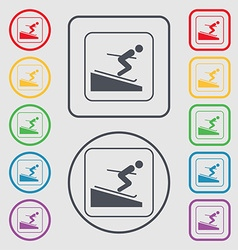 Skier icon sign symbol on the round and square vector