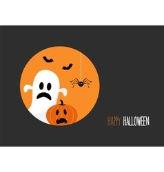 Happy halloween card with evil laughing pumpkin vector