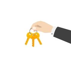 Hand holding keys chain vector