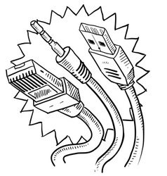 Doodle computer cables vector
